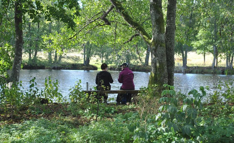 Järnleden två damer på bänk vid vatten